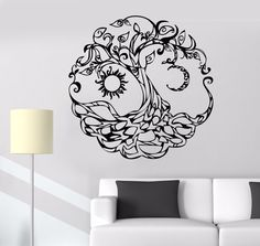 Vinyl Wall Decal Tree of Life Celtic Symbol Moon Sun Day Night Stickers Unique Gift Vinyl Wall Decals, Wall Stickers, Tree Of Life Artwork, House Of Night, Minimalist Bedroom Small, Celtic Tree Of Life, Life Symbol, Celtic Symbols, Life Tattoos