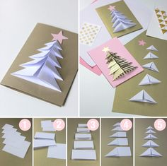 fun Christmas Crafts weihnachtskarten anleitung we - christmascrafts Christmas Card Crafts, Christmas Origami, Christmas Cards To Make, Christmas Projects, Kids Christmas, Handmade Christmas, Holiday Crafts, Origami Xmas Cards, 3d Christmas Tree