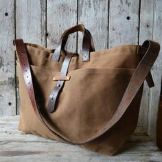 Super Roomy Large Waxed Canvas Tote by Peg and Awl