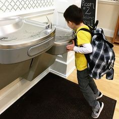 dexter loves using the elkay drinking fountain at school share your pictures with us