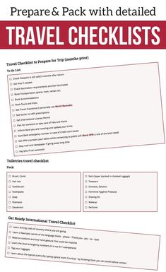 Travel Checklists Packing and preparation - Detailed lists (for women and men) to help you get ready for your next trip : Carry on packing list, clothes, electronic equipment, toiletries, essential papers and more.  Plus some must have travel accessories | #Traveltips | Travel Tips | Travel packing tips |