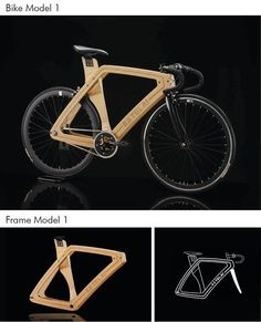 Custom made wooden bike. Designed and built in Italy. Light-weight and resistant wood frame.