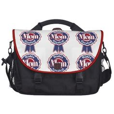 Worlds Greatest Mom Blue Ribbon Laptop Commuter Bag   •   This design is available on t-shirts, hats, mugs, buttons, key chains and much more   •   Please check out our others designs at: www.zazzle.com/ZuzusFunHouse*