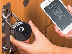 This Quicklock bluetooth padlock ($69.95) that you can unlock with an app.