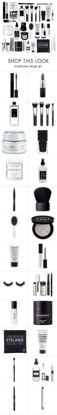 """Beauty Must - Haves"" by luxurylust-x ❤ liked on Polyvore featuring beauty, Gucci, MAC Cosmetics, Serge Lutens, GlamGlow, Herbivore, Little Barn Apothecary, Trish McEvoy, NARS Cosmetics and New Look"