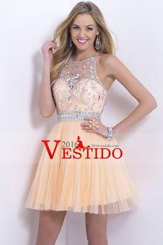 2015 cabestro corto / mini vestido de fiesta con cuentas Corpiño una línea de tul