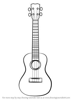 How to Draw a Ukulele step by step, learn drawing by this tutorial for kids and adults. How to Draw a Ukulele step by step, learn drawing by this tutorial for kids and adults. Ukulele Tattoo, Ukulele Drawing, Ukulele Art, Ukelele, Guitar Art, Guitar Doodle, Guitar Painting, Ukulele Chords, Guitar Songs