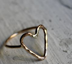Handmade to Order- 14K Gold fill Heart Ring by Rachel Pfeffer. $78.00, via Etsy.