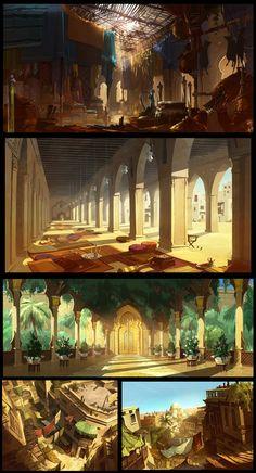 """Tempo Express"" background art by Gaël Becu (via Norton Artist) Concept Art SteamPunk Fashion Sci-Fi Concept Art Landscape, Fantasy Concept Art, Fantasy Landscape, Landscape Art, Fantasy City, Fantasy Places, Animation Background, Art Background, Fantasy Background"