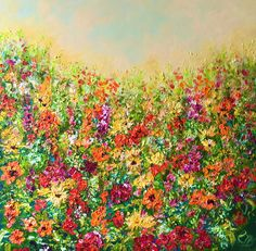 Acrylic painting on Canvas, Subject: Flowers and plants, Impressionistic style, One of a kind artwork, Signed on the front, Ready to hang, Size: 60 x 60 x 4 cm (unframed), Materials: Acrylic Price Artwork, Original Artwork, Original Paintings, Colorful Paintings, Summer Garden, Summer Colors, Acrylic Painting Canvas, Online Art Gallery, Impressionist