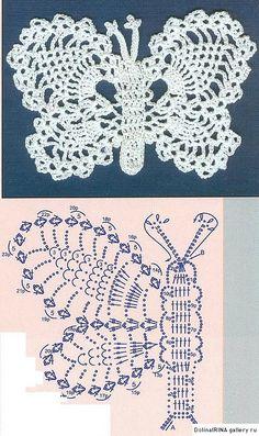 Crochet butterflies, more ideas - Diversi tipi di farfalle a uncinetto Butterfly crochet