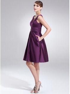 A-Line/Princess V-neck Knee-Length Satin Bridesmaid Dress With Ruffle (007004302) - JJsHouse Has pockets!!