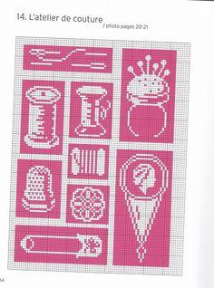 thread spools and floss. Cross Stitch Kitchen, Mini Cross Stitch, Cross Stitch Borders, Cross Stitch Charts, Cross Stitch Patterns, Quilt Stitching, Cross Stitching, Cross Stitch Embroidery, Embroidery Patterns
