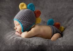 Newborn Crochet Dinasour Outfit Hat Set Photo Props by Sharonplus