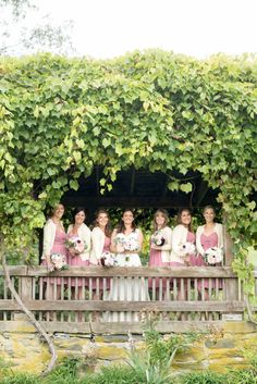 A Red Maple Vineyard wedding with dusty rose short dress bridesmaids. Photo by NYC wedding photographer Mikkel Paige Photography. #fallbridalparty #fallbridesmaids #earthywedding