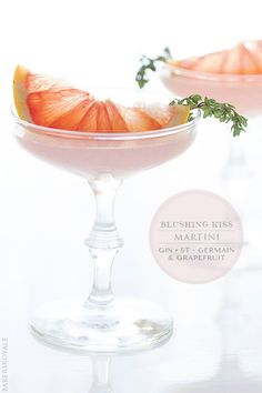 Blushing Kiss Martini Makes 1 cocktail Ingredients:     2 parts Gin     1 part St. Germain     1 part grapefruit juice     grapefruit wedge 1 sprig of time shake liquid ingredients w/ ice and pour through fine strainer into chiled martini glass. garnish w/ wedge and sprg. option - rim glass w/ grapefruit wedge and stir drink w/ thyme