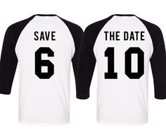 The Perfect shirts for the Save the Date Photos! Custom SAVE THE DATE Baseball Tees Set at www.MrsBridalShop.com