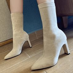 Apricot Fashion Suede Point Toe Chunky Heel Calf Black Heel Boots, Calf Boots, Knee High Boots, Heeled Boots, Chunky Boots, Chunky Heels, Lip Wallpaper, Casual Winter