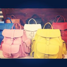 An army of colour leather rucksacks by Grafea