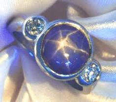 """My favourite stones are those with asterisms like this blue star sapphire. The star radiates when in direct sunlight or under a single light source. The 6-point asterisms arise from rutile inclusions in natural stones known as """"silk"""" which reflect the light. Stones are cut into cabochon shapes to best display the star. Ancient Greeks highly valued stones with stars, regarding them as powerful love charms. http://www.fashionaccessoryshop.com/colored-precious-stones-emeralds-sapphires-rub.html"""