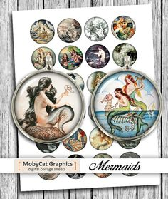 Mermaid Circles 1 20mm 30mm 1.5 Printable by MobyCatGraphics