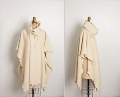 vintage 1970s cream wrap cape coat with fringe by StopTheClock on Etsy