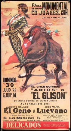 BF41 Original vintage 1995 Bullfight Poster from Mexico Jorge de Jesus El Glison in Collectibles, Cultures & Ethnicities, Latin American   eBay