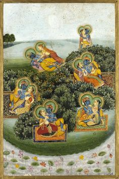 Krishna and the gopis (milkmaids). Illustration to the Gita Govinda. Jaipur, ca. 1800. Full view (click & enlarge): http://media.vam.ac.uk/collections/img/2013/GB/2013GB1354_2500.jpg