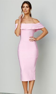 Modern Icon Pink Off The Shoulder Fold Over Ruffle Bodycon Bandage Midi Dress