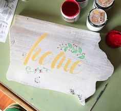 Handpainted Iowa Home Sign by OnionGroveMercantile on Etsy