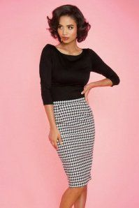 Dixiefied by Pinup Couture Perfect Houndstooth Pencil Skirt 120 14 16871 1