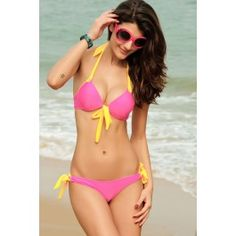Summer pink sweet series bikini two piece bathing suit swimwear Dear love-LC40626