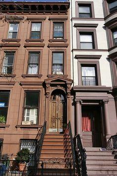 Cumberland Street Brooklyn, via Flickr. Brooklyn Real Estate, Brooklyn Brownstone, Classic Building, Brick Facade, Town House, Brick Building, New York City, Terrace, 19th Century