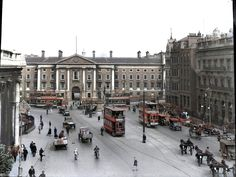 Dublin: All of early century transport is here Ireland Pictures, Images Of Ireland, Old Pictures, Old Photos, Vintage Photos, Dublin Street, Dublin City, Croke Park, Photo Engraving