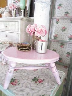 Shabby vintage chic pink chippy  painted by Vintagewhitecottage