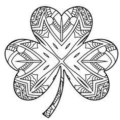 instant download coloring page  four leaf clover/ shamrock print zentangle inspired doodle art