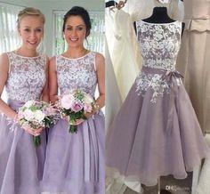 Short Lace Bridesmaid Dresses Knee Length Organza 2016 Applique Backless Elegant Party Maid of Honor Dress Ribbon BR33