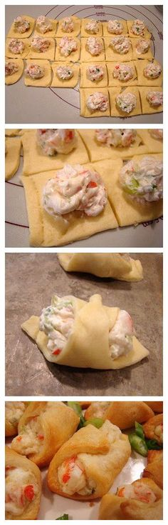Crab-Filled Crescent Wontons 1-8 oz. tube crescent roll dough 3 oz. cream cheese, softened 1/4 cup mayonnaise 3/4 cup cooked crabmeat, chopped 2 green onions, chopped 1/8- 1/4 teaspoon cayenne pepper salt and pepper, to taste Heat oven to 375F. Spray cookie sheet with cooking spray. Cut into 6 rows by 4 rows to make 24 squares. Bake 10 to 15 minutes or until golden brown..