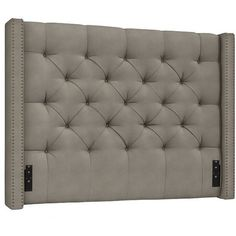 Pottery Barn Harper Upholstered Tufted Low Headboard ($1,399) ❤ liked on Polyvore featuring home, furniture, beds, cobblestone, upholstered wingback bed, tufted fabric headboard, upholstered bed, tufted upholstered headboard and wingback headboard
