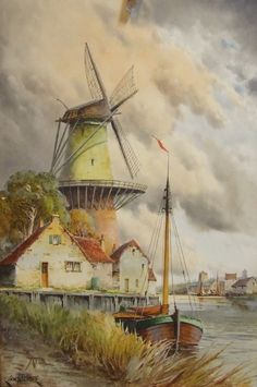 Original watercolour painting Louis van Staaten Dutch Windmill English artist framed art by ElegantPossessions on Etsy