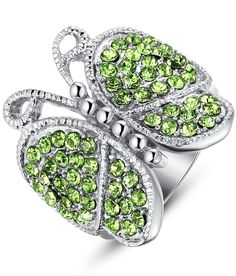 Stainless Steel Green Crystal Studded Butterfly Womens Ring