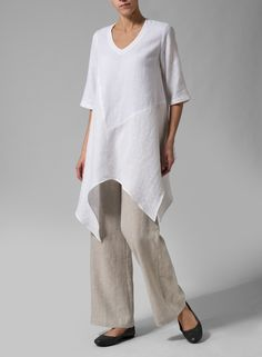 Linen Handkerchief Hem Top | Proclaim your style with pride with this stunning, dramatic, uneven hem blouse. Relaxed fit gently drapes off the body for maximum comfort.Additionally, plus clothing size will be suitable for you.
