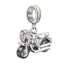 Motorin' - Motorcycle Charm: Hit the open road with this inspired, .925 sterling silver motorcycle charm. Designed with full attention to…