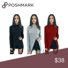 NEW ARRIVAL!! NEW ARRIVAL!! Gorgeous ribbed high slit tops! boutique Tops Blouses