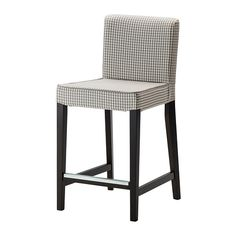 Henriksdal Bar Stool With Backrest, Brown-black, Sågmyra Gray/check