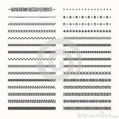 Hand drawn vector line border set and scribble