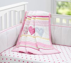 I think I finally found her bedding!!! Heart Nursery Bedding | Pottery Barn Kids