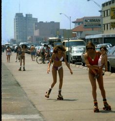 vintage everyday: Roller Skaters at Galveston Beach, Texas in the early 1980s