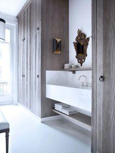Gilles et Boissier, 19th century flat in Paris, bathroom, marble trough like sink #sink