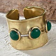 Brass And Jade Cuff Bracelet from Uno Alla Volta on Catalog Spree, my personal digital mall.
